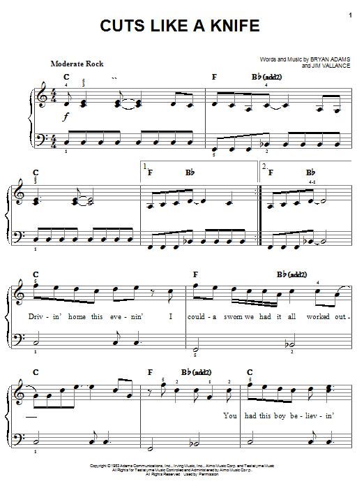 Partition piano Cuts Like A Knife de Bryan Adams - Piano Facile