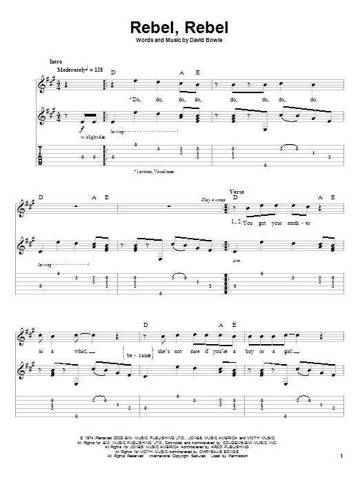 Tablature guitare Rebel, Rebel de David Bowie - Tablature Guitare
