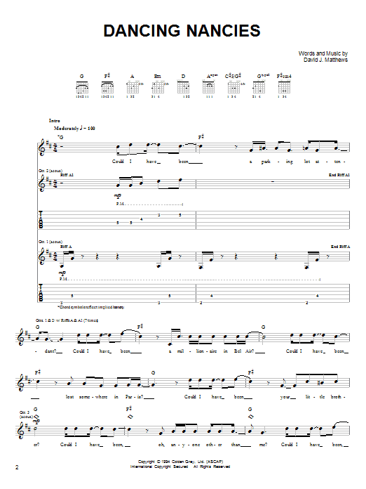 Tablature guitare Dancing Nancies de Dave Matthews Band - Tablature guitare facile