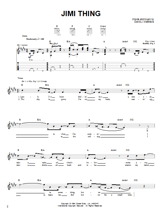 Tablature guitare Jimi Thing de Dave Matthews Band - Tablature guitare facile