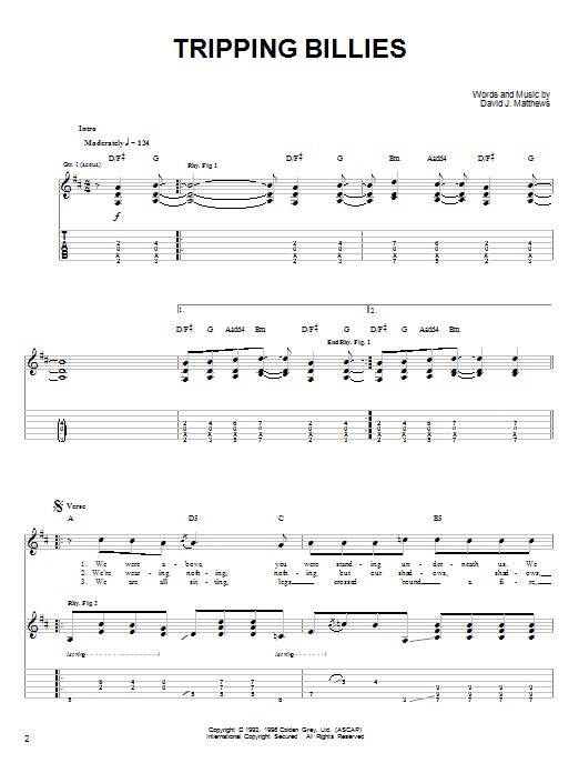 Tablature guitare Tripping Billies de Dave Matthews Band - Tablature guitare facile