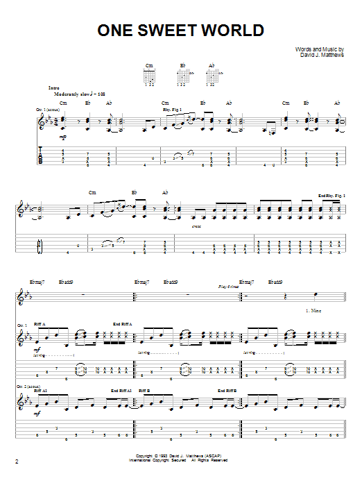 Tablature guitare One Sweet World de Dave Matthews Band - Tablature guitare facile