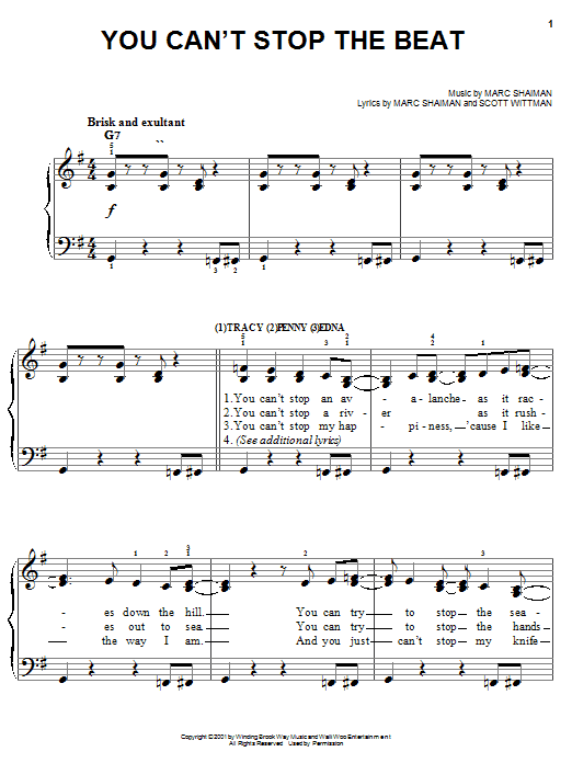 Partition piano You Can't Stop The Beat (from Hairspray) de Marc Shaiman - Piano Facile