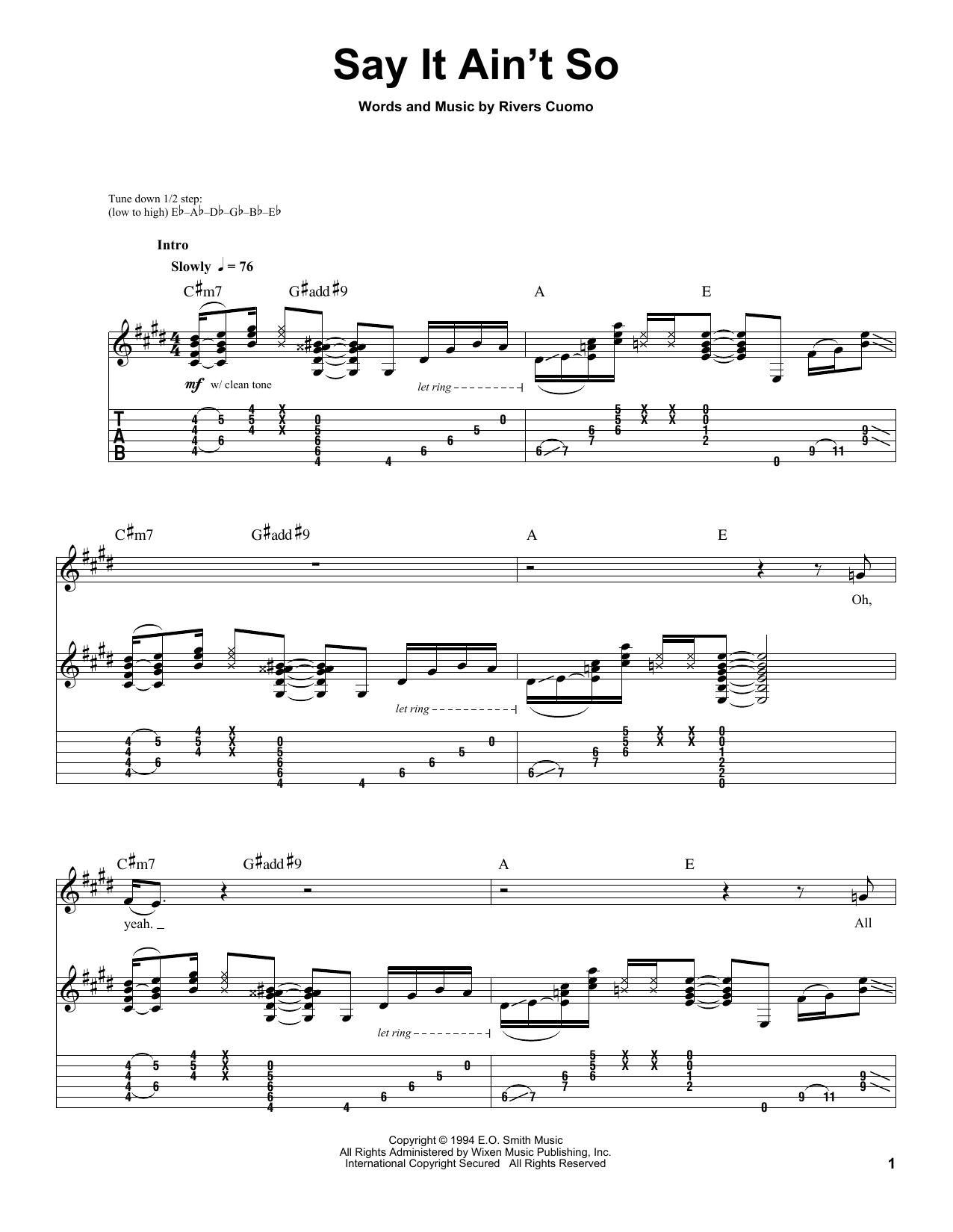 Tablature guitare Say It Ain't So de Weezer - Tablature Guitare