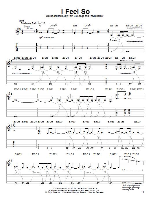 Tablature guitare I Feel So de Box Car Racer - Tablature Guitare