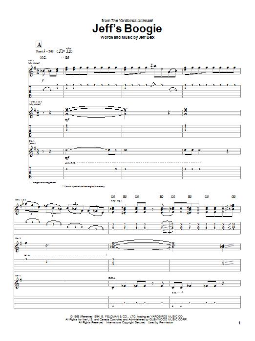 Tablature guitare Jeff's Boogie de Jeff Beck - Tablature Guitare