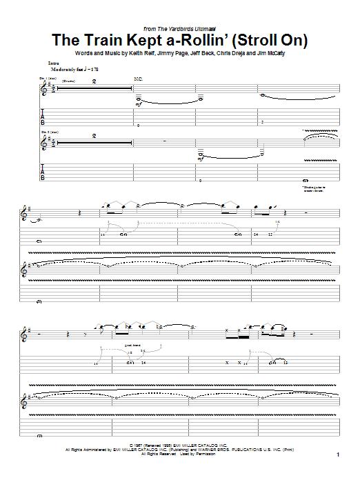 Tablature guitare The Train Kept A-Rollin' (Stroll On) de The Yardbirds - Tablature Guitare