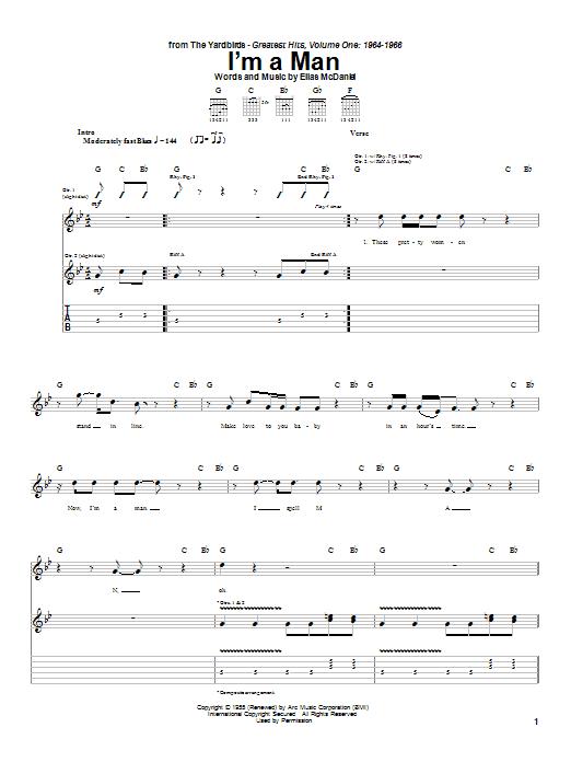 Tablature guitare I'm A Man de The Yardbirds - Tablature Guitare