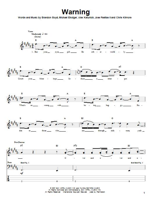 Tablature guitare Warning de Incubus - Tablature Basse