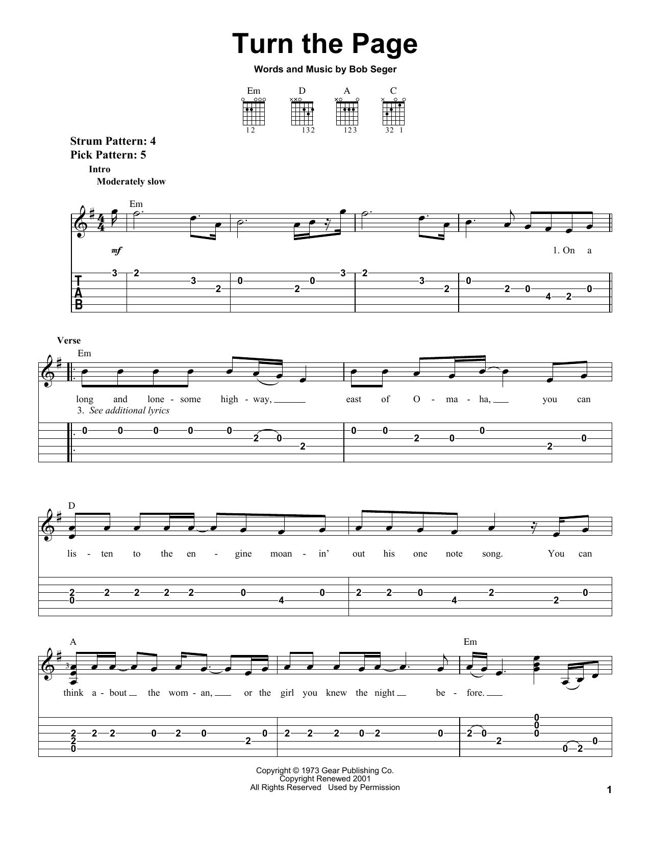 Tablature guitare Turn The Page de Bob Seger - Tablature guitare facile