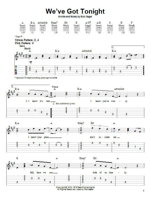 Tablature guitare We've Got Tonight de Bob Seger - Tablature guitare facile