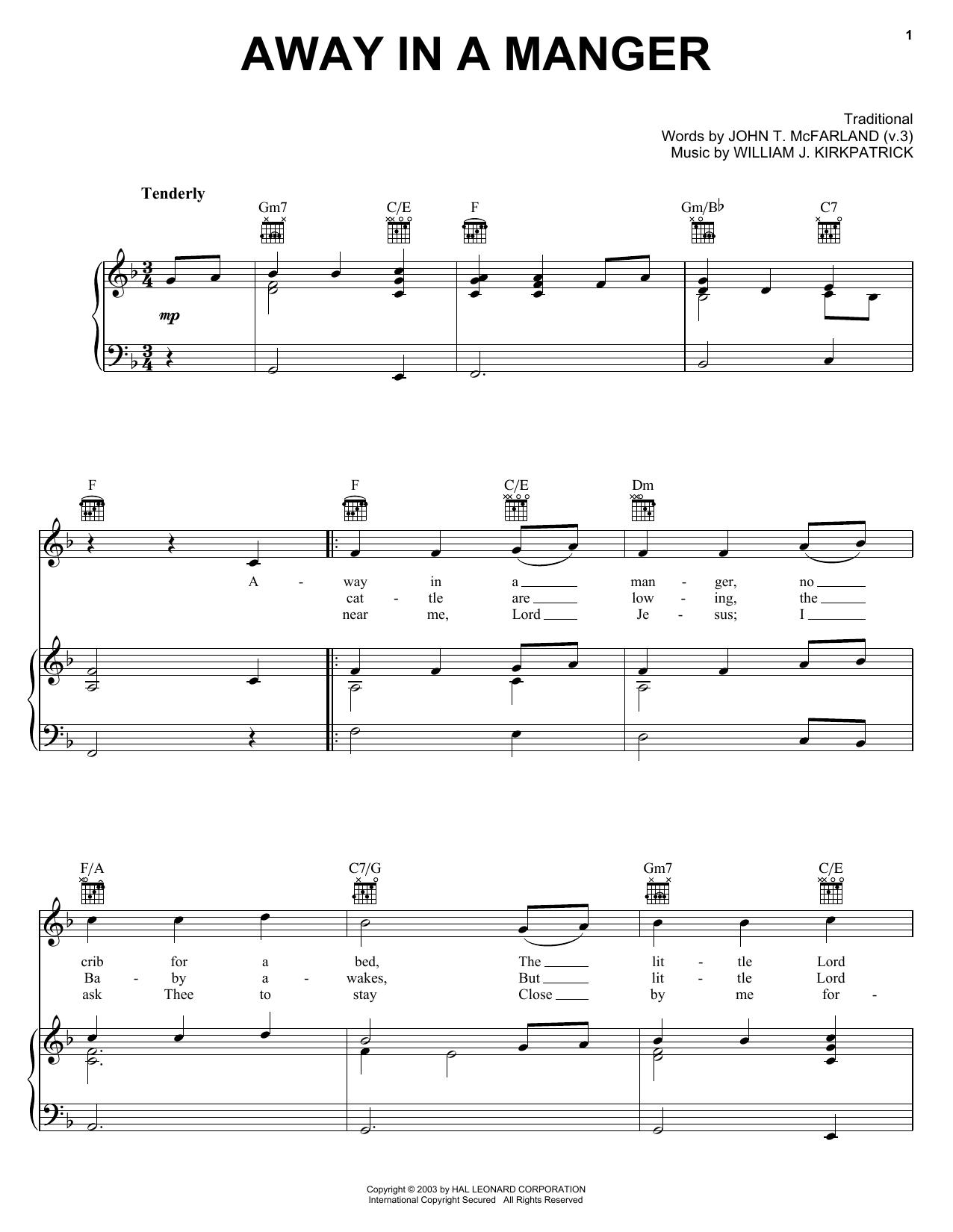 Partition piano Away In A Manger de Christmas Carol - Piano Voix Guitare (Mélodie Main Droite)