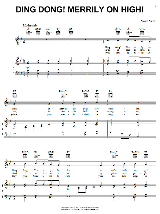 Traditional Carol: Ding Dong! Merrily On High! - Piano, Vocal & Guitar (Right-Hand Melody ...