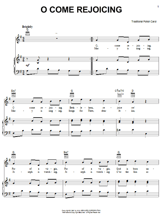Partition piano O Come Rejoicing de Christmas Carol - Piano Voix Guitare (Mélodie Main Droite)