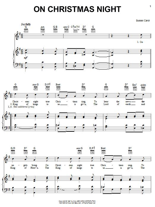 Partition piano On Christmas Night de Christmas Carol - Piano Voix Guitare (Mélodie Main Droite)