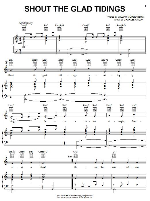 Partition piano Shout The Glad Tidings de Christmas Carol - Piano Voix Guitare (Mélodie Main Droite)