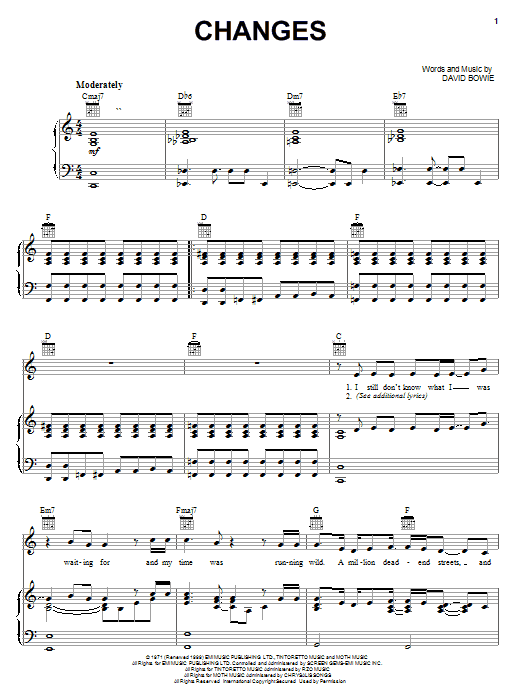 Changes sheet music for voice, piano or guitar by David Bowie