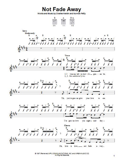 Tablature guitare Not Fade Away de Buddy Holly - Autre