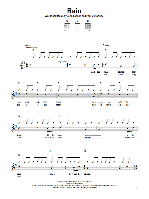 Tablature guitare Rain de The Beatles - Autre