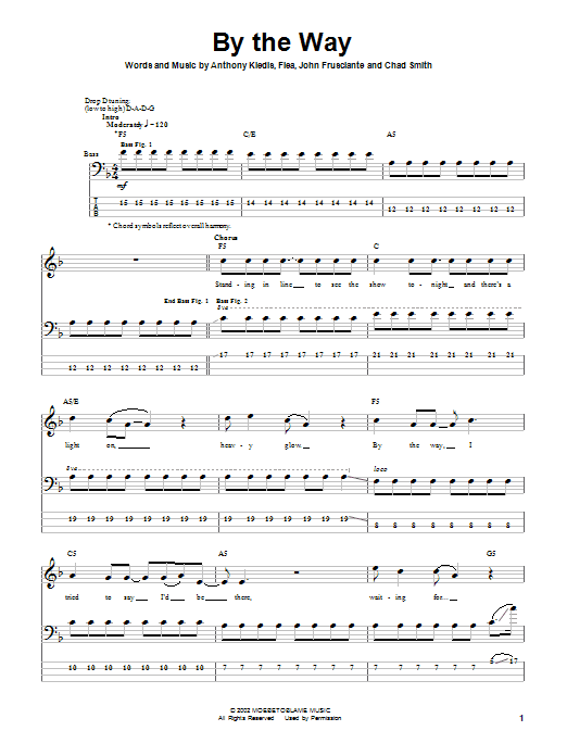 By The Way sheet music for bass (tablature) (bass guitar) by John Frusciante