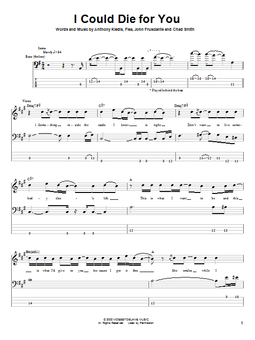 Tablature guitare I Could Die For You de Red Hot Chili Peppers - Tablature Basse