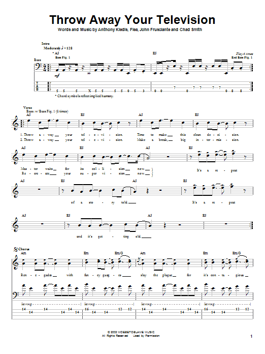 Tablature guitare Throw Away Your Television de Red Hot Chili Peppers - Tablature Basse