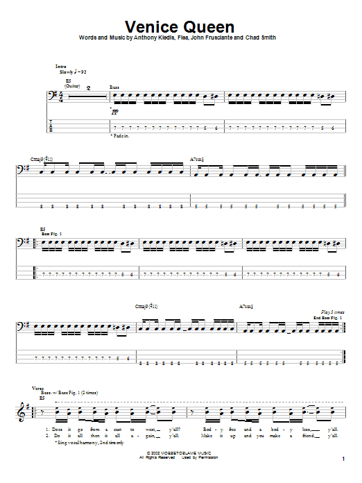 Tablature guitare Venice Queen de Red Hot Chili Peppers - Tablature Basse