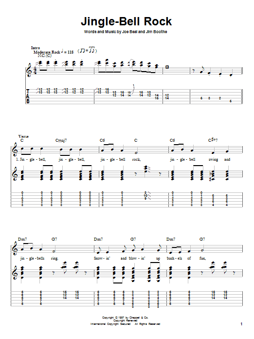 Guitar tablature jingle bells