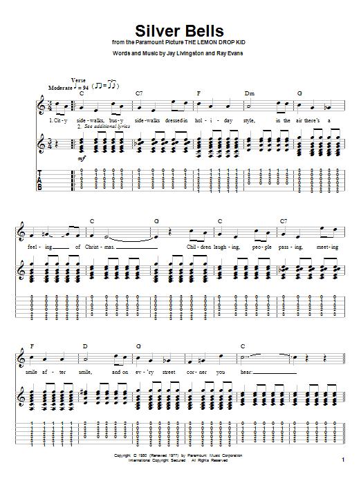 Tablature guitare Silver Bells de Kenny Chesney - Tablature Guitare