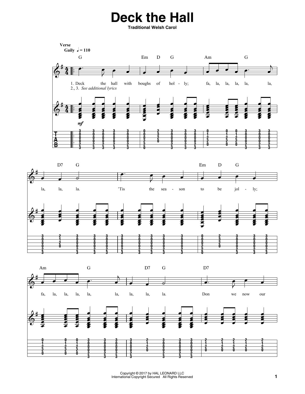 Tablature guitare Deck The Halls de Christmas Carol - Tablature Guitare
