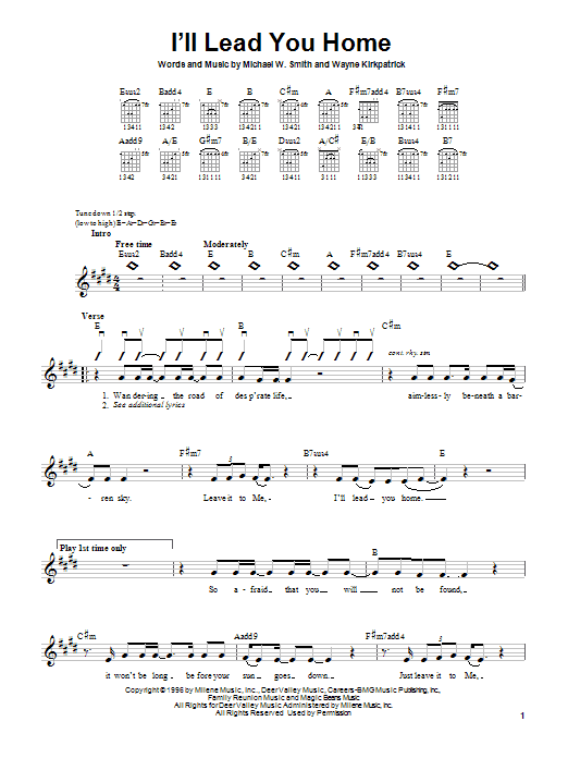 I'll Lead You Home sheet music for guitar solo (chords) by Wayne Kirkpatrick