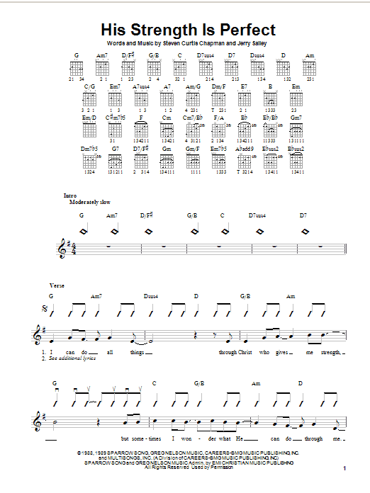 Tablature guitare His Strength Is Perfect de Steven Curtis Chapman - Autre