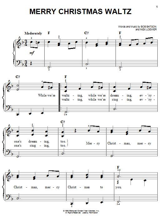 Partition piano Merry Christmas Waltz de Bob Batson - Piano Facile