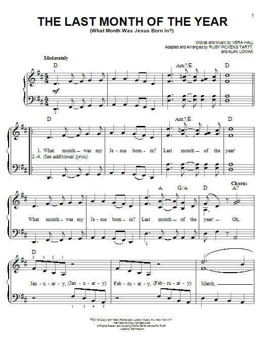 The Last Month Of The Year (What Month Was Jesus Born In?) sheet music for piano solo (chords) by Ruby Pickens Tartt