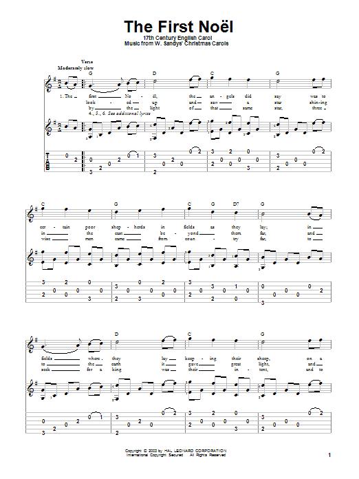 Tablature guitare The First Noel de 17th Century English Carol - Tablature Guitare