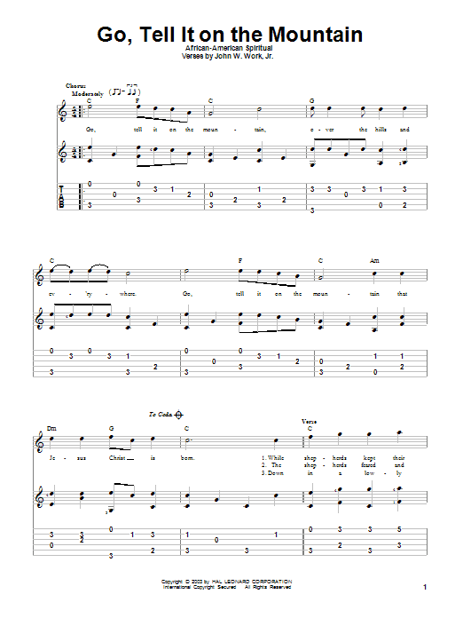 Tablature guitare Go, Tell It On The Mountain de African-American Spiritual - Tablature Guitare
