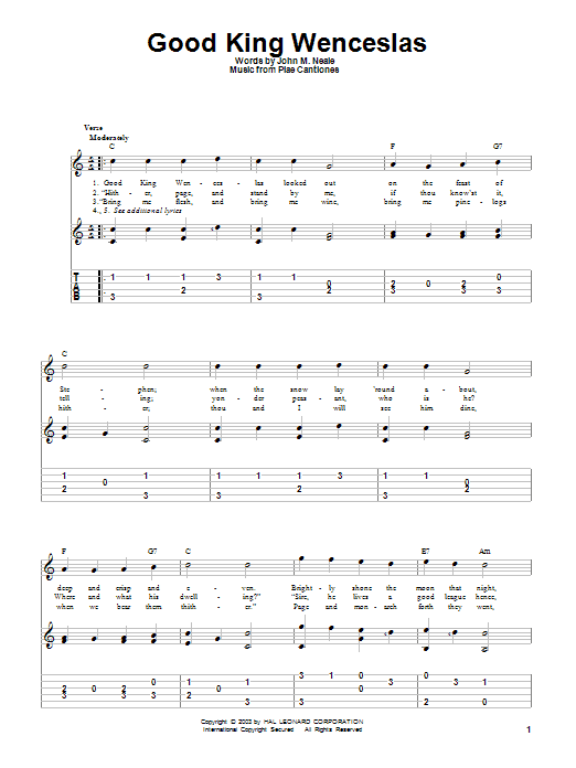 Tablature guitare Good King Wenceslas de John M. Neale - Tablature Guitare
