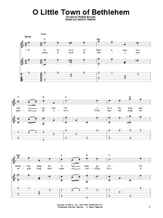 Tablature guitare O Little Town Of Bethlehem de Phillips Brooks - Tablature Guitare