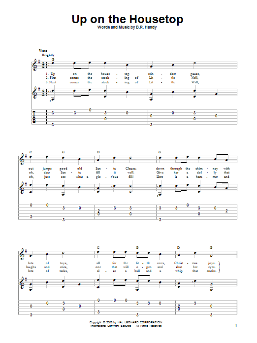 Tablature guitare Up On The Housetop de B.R. Hanby - Tablature Guitare