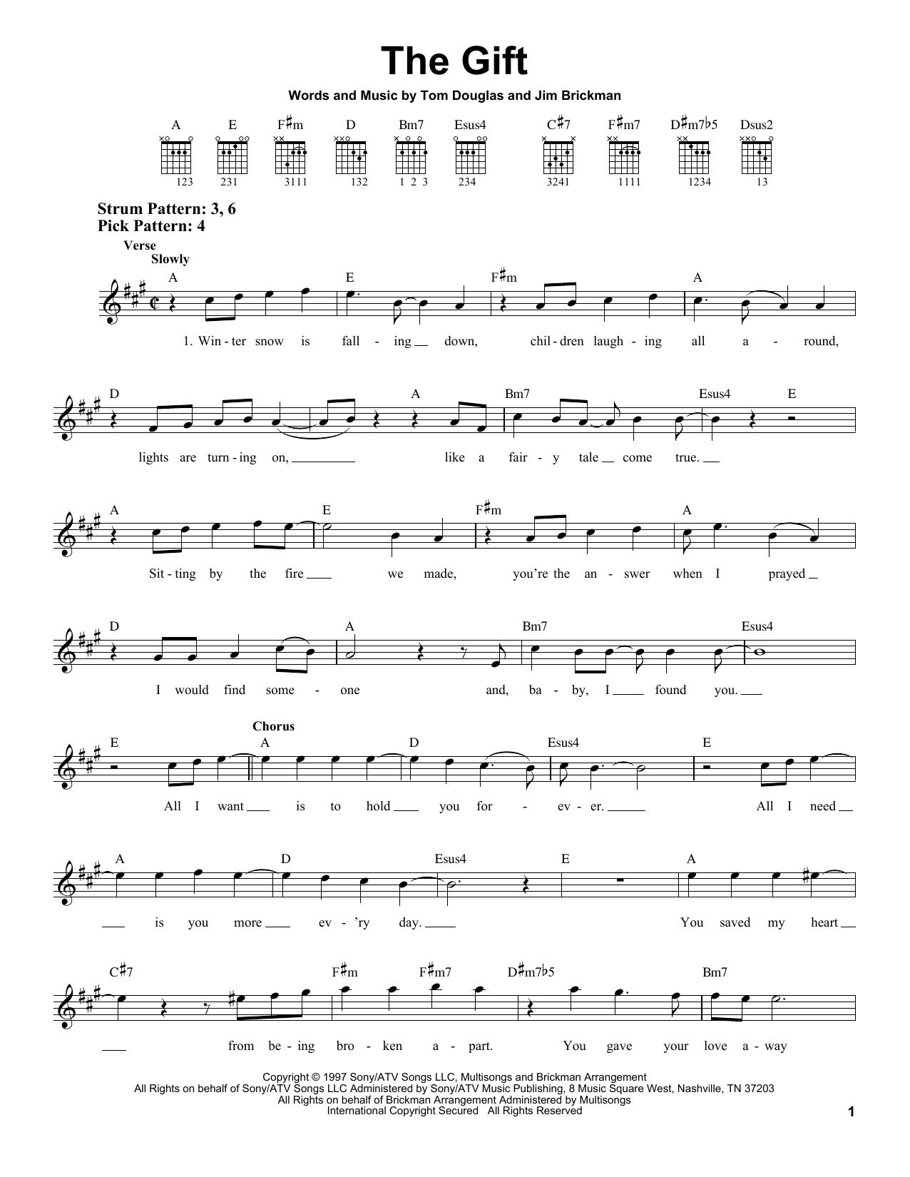 Tablature guitare The Gift de Jim Brickman - Tablature guitare facile