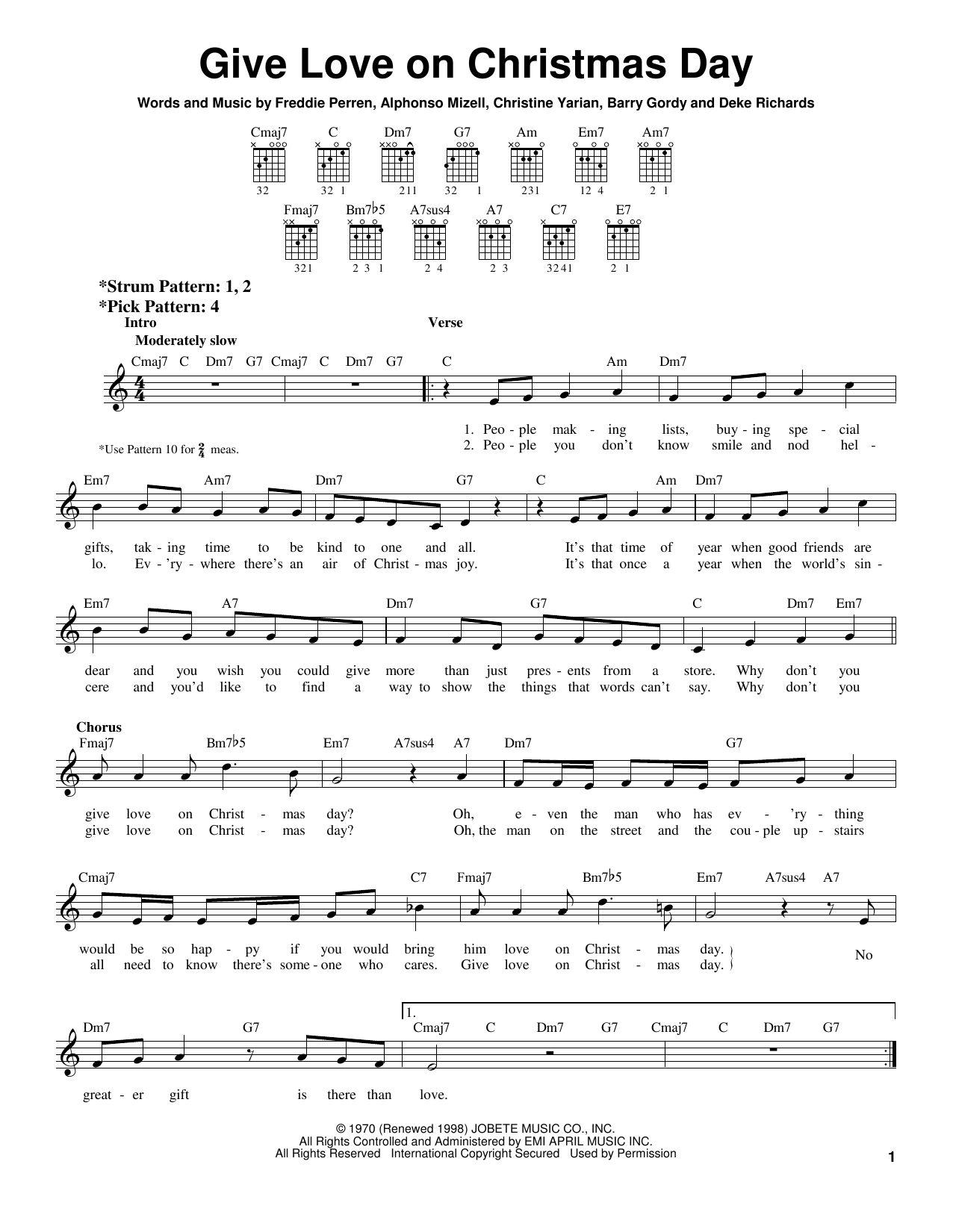 Tablature guitare Give Love On Christmas Day de Berry Gordy - Tablature guitare facile