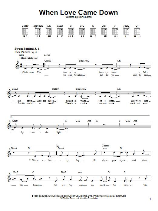 Tablature guitare When Love Came Down de Point Of Grace - Tablature guitare facile