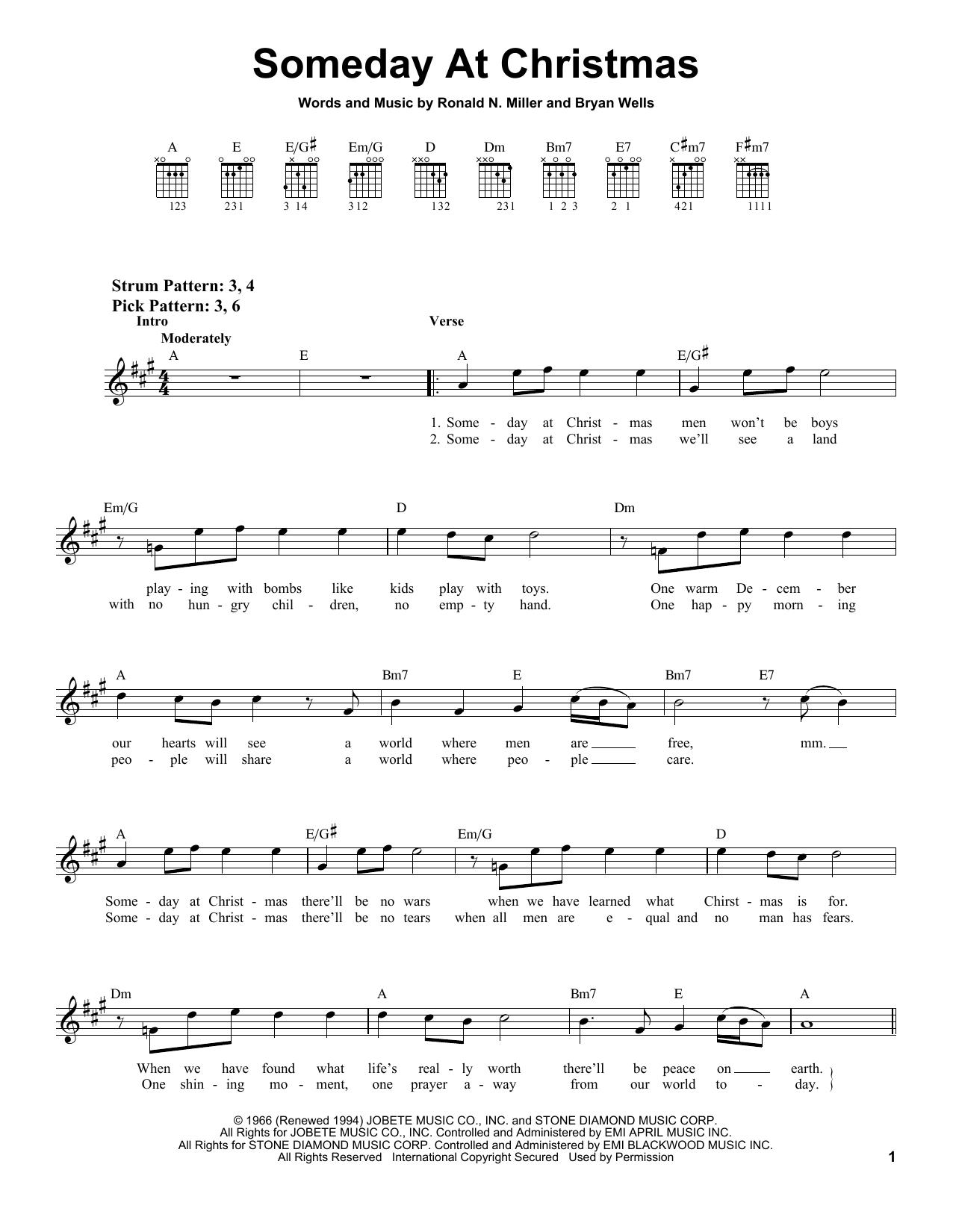 Tablature guitare Someday At Christmas de Ronald N. Miller - Tablature guitare facile