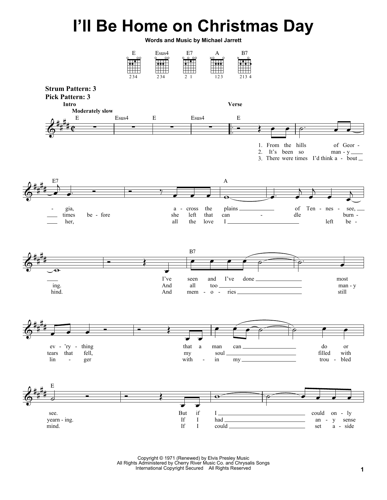 Tablature guitare I'll Be Home On Christmas Day de Elvis Presley - Tablature guitare facile