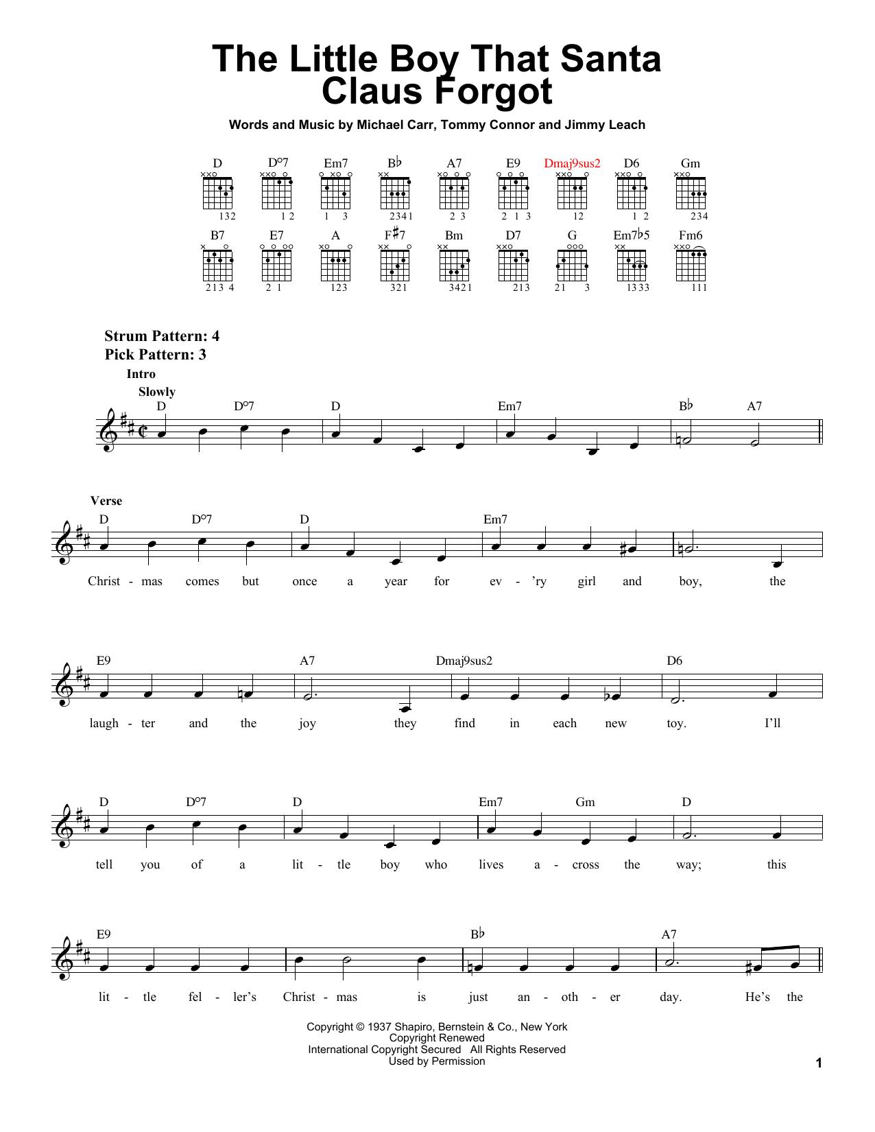 Partition autre The Little Boy That Santa Claus Forgot de Michael Carr - Tablature guitare facile