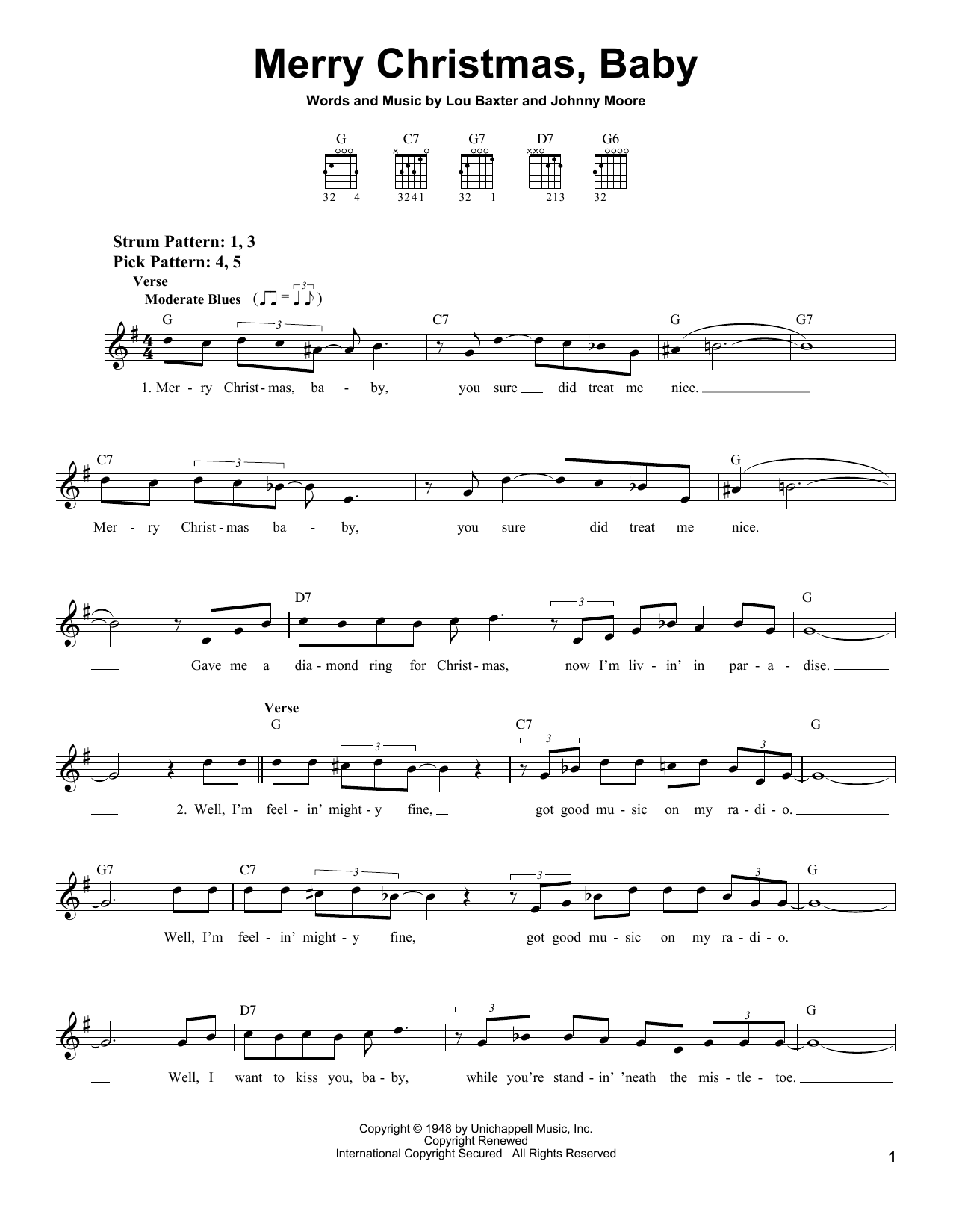 Tablature guitare Merry Christmas, Baby de Elvis Presley - Tablature guitare facile