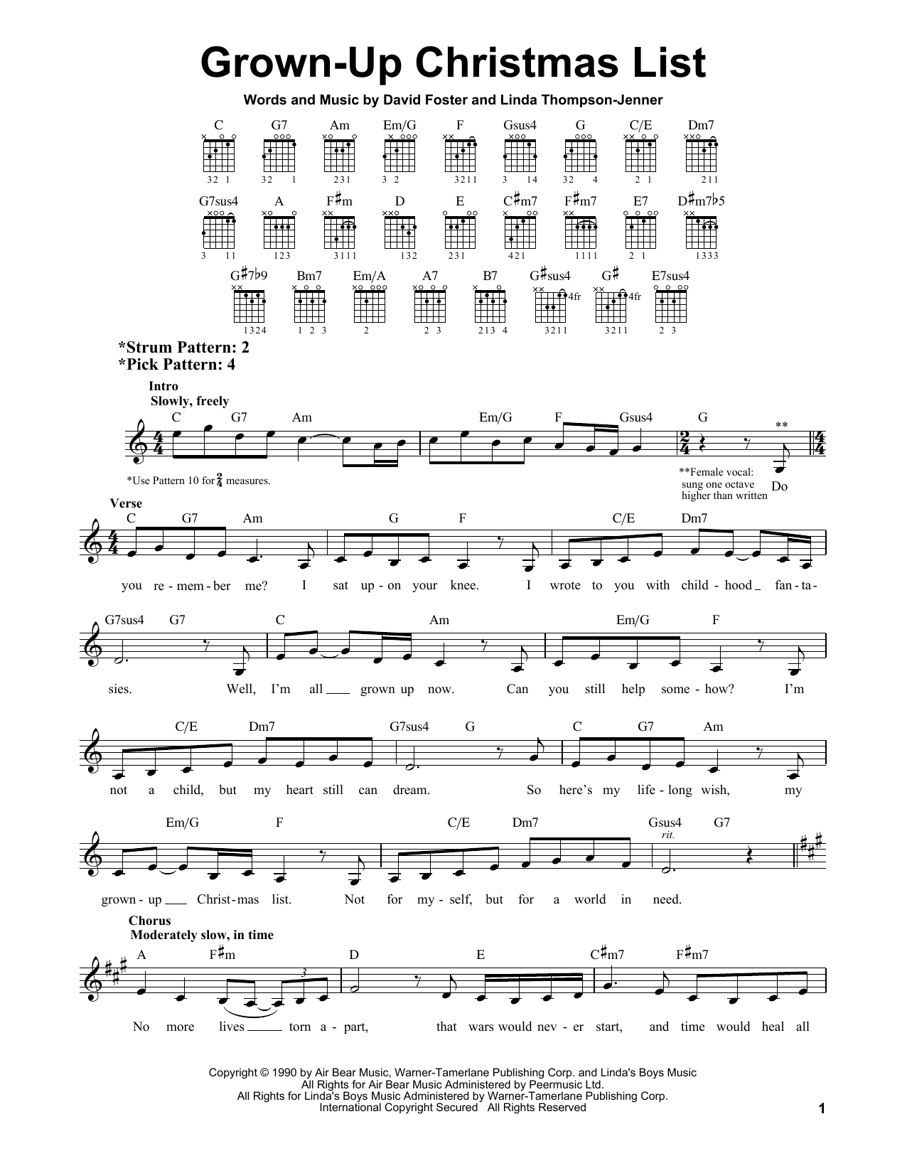 Grown-Up Christmas List sheet music for guitar solo (chords) by Linda Thompson-Jenner
