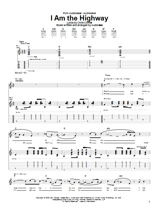 Tablature guitare I Am The Highway de Audioslave - Tablature Guitare