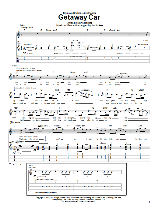 Tablature guitare Getaway Car de Audioslave - Tablature Guitare