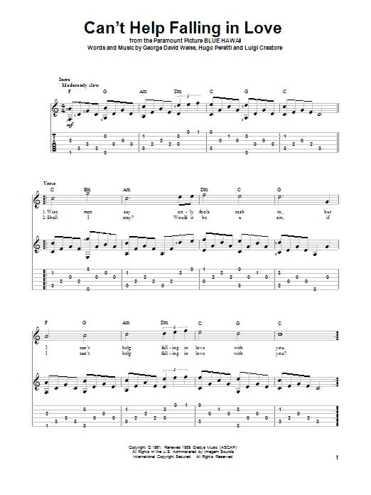 Tablature guitare Can't Help Falling In Love de Elvis Presley - Tablature Guitare